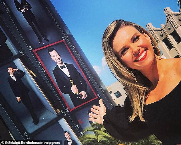 All dressed up with nowhere to go?'We don't have the broadcast rights to the Oscars. Still plenty to see,' said Edwina, while dressed up in a ball gown and reporting live from across the street
