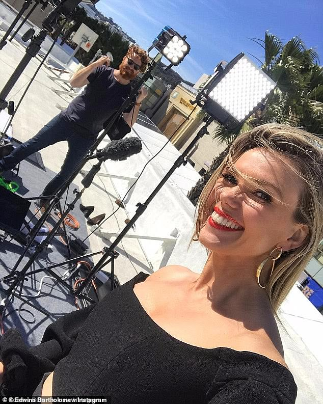 Snubbed!In 2018, Sunrise's Edwina Bartholomew was humiliatingly forced to report on the Oscars from a nearby shopping centre rooftop (pictured)