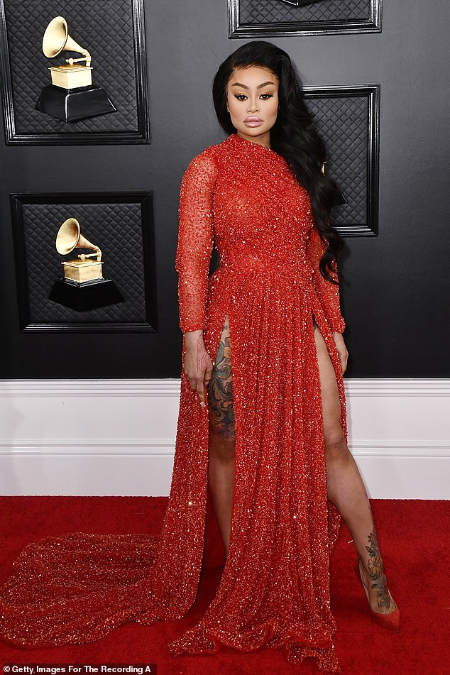 Angry: Blac Chyna, seen at the Grammys on Sunday, the day of Kobe Bryant's ill-fated crash