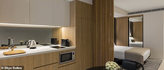 Modern!Each sleek self-catered room comes with its own kitchen, lounge and balcony
