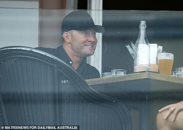 Business meeting: On Thursday evening, Michael was seen having drinks with friends at a bar in Bondi Beach after being dropped off by his female assistant.He was accompanied by Sky Sports producer Ben Lloyd and footy coach Laurie Daley at Hotel Ravesis on Campbell Parade