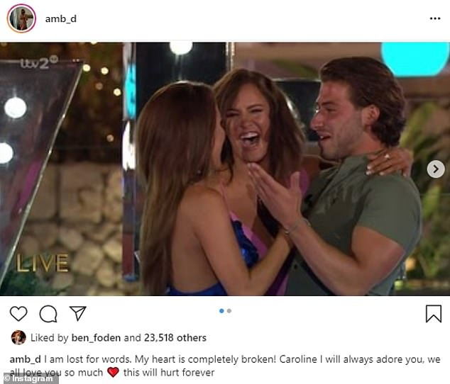 Upset: Amber Davies shared a snap from the moment Caroline announced she and then-boyfriend Kem Cetinay had been crowned Love Island champions in 2017