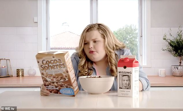 On her own:Last week fans got an early look of the Georgia-based family's show, which featured Alana'Honey Boo Boo' Thompson, 14, enjoying a bowl of coco puffs by herself